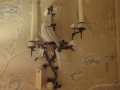 Pair Bronze & White Porcelain Parrot Wall Sconces
