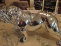 Small Silver Effect Bulldog Figure with Diamonte Collar