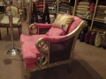 Armchair with Bergere Silver Sides Upholstered in Sari Fuschia (Custom)