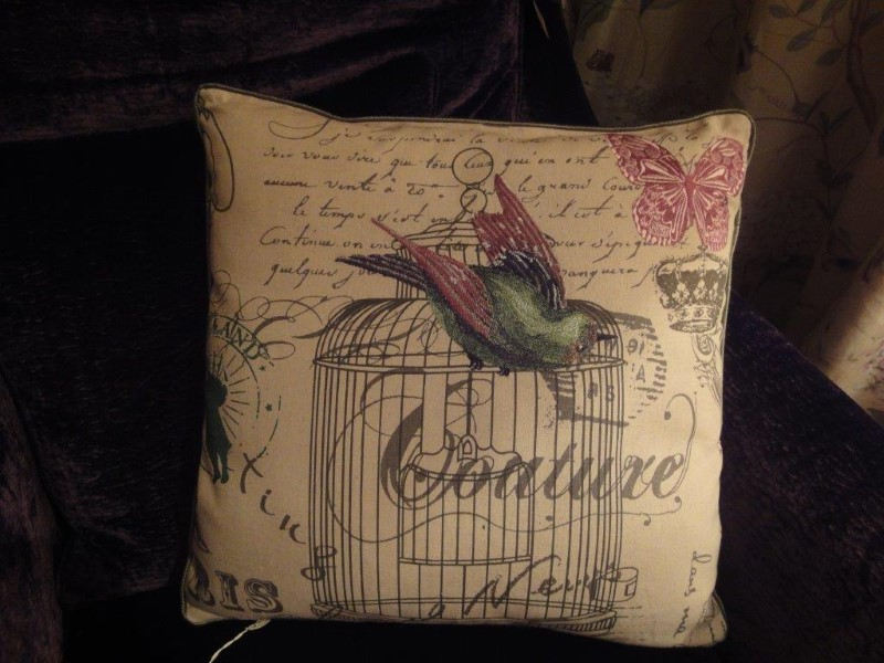 Needlepoint Green Bird with Cage Script Square Cushion
