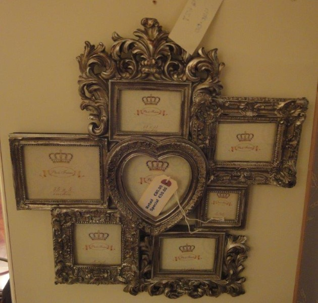 Antique Silver Multi Wall Photo Frame with Heart