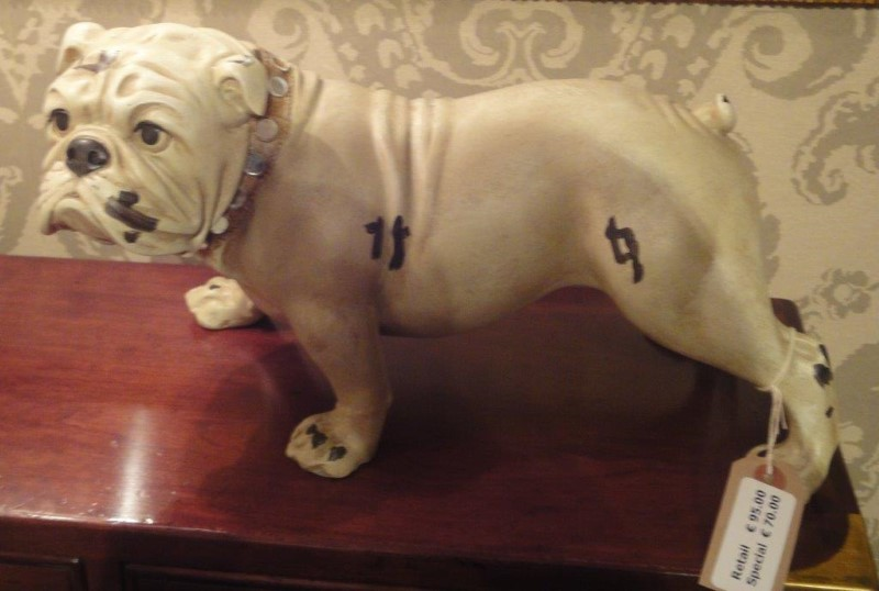 Antique White Bulldog Figure