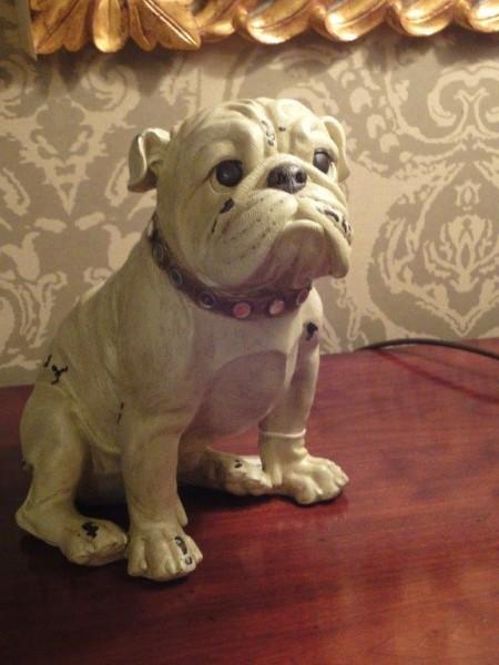 Antique White Sitting Bulldog Figure
