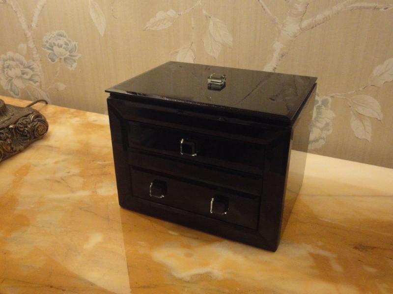 Black Glass Mirror Box