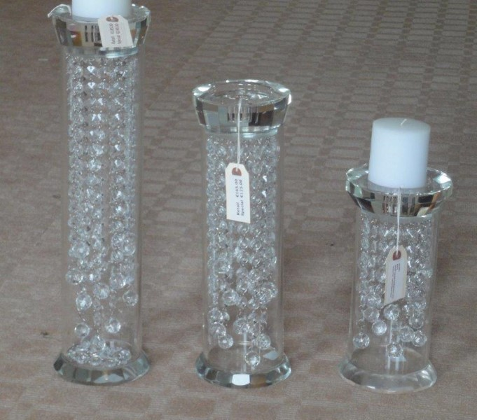 Crystal Candleholders with Waterfall Centre Decoration