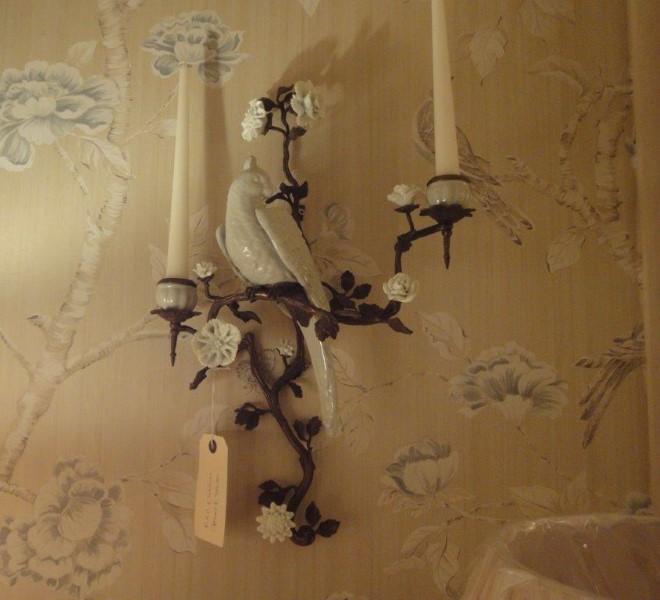 Pair Bronze & White Porcelain Parrot Wall Sconces