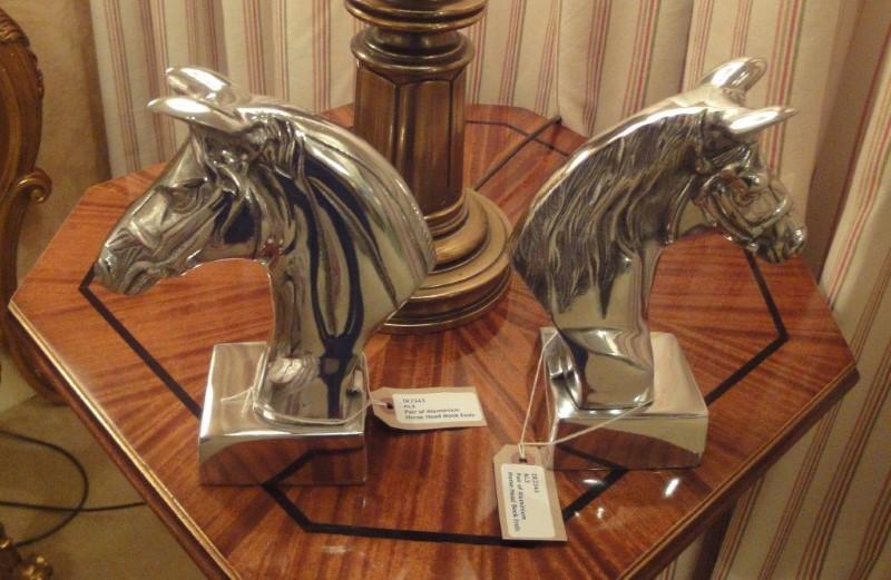 Pair of Aluminium Horse Head Book Ends