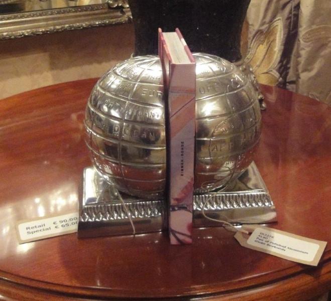 Pair of Polished Aluminium Globe Bookends