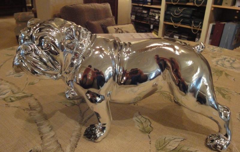 Small Silver Effect Bulldog Figure with Diamonte Collar