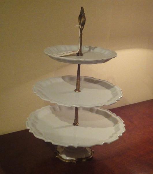White Porcelain & Bronze 3 Level Cake Stand