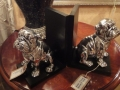 Pair of Silver Effect on Black Base Bulldog Bookends
